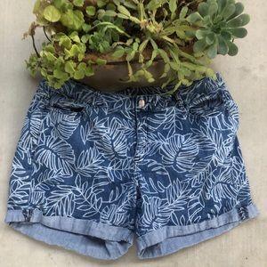 Lane Bryant Leaf Printed Denim Shorts